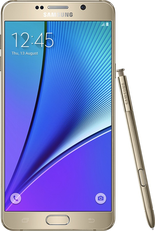 实际尺寸图像 Samsung Galaxy Note 5 。
