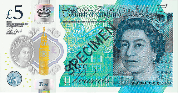 Actual size image of  Polymer Banknote of the pound sterling .
