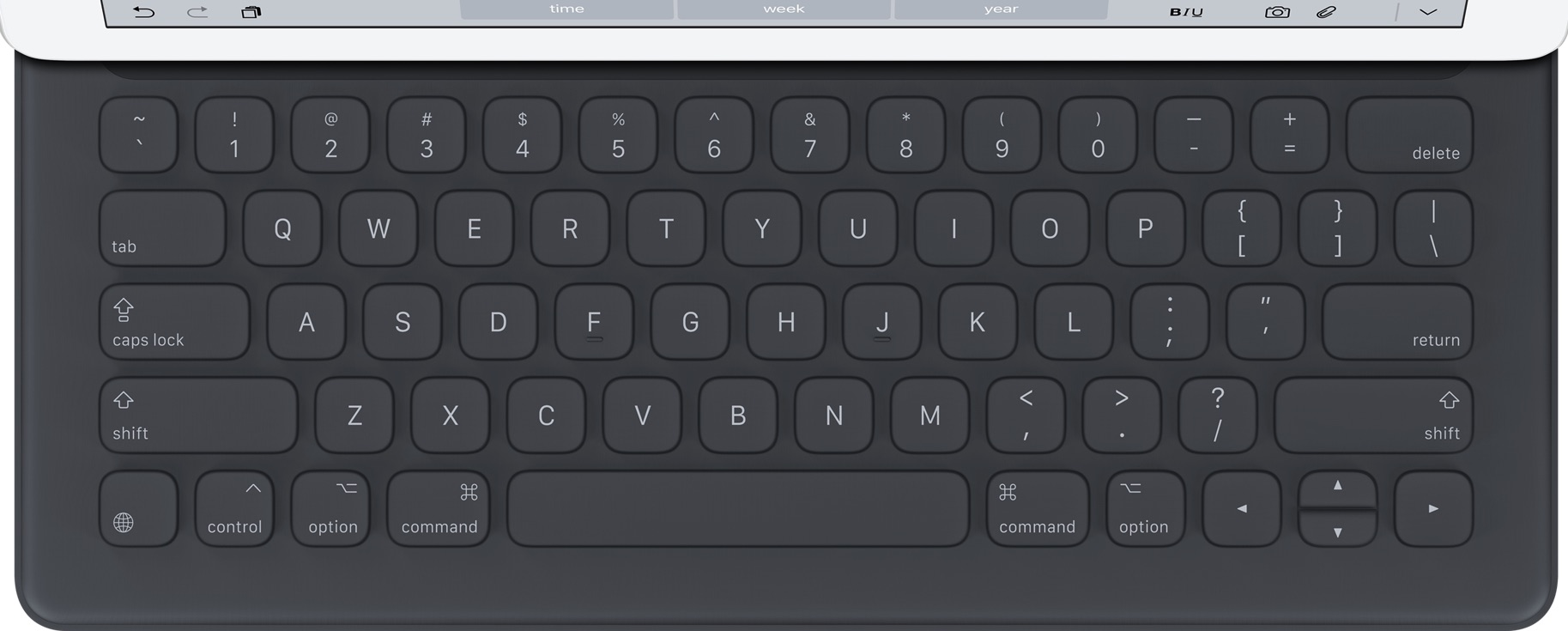 實際尺寸圖像 iPad Smart Keyboard 。