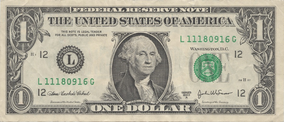 Actual size image of  United States Dollar (USD) .
